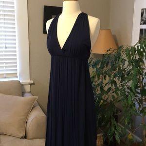 Joe Fresh Navy Jersey Maxi Dress XS Flattering NEW
